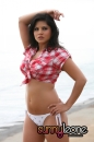 Red Plaid Top At Beach picture 16